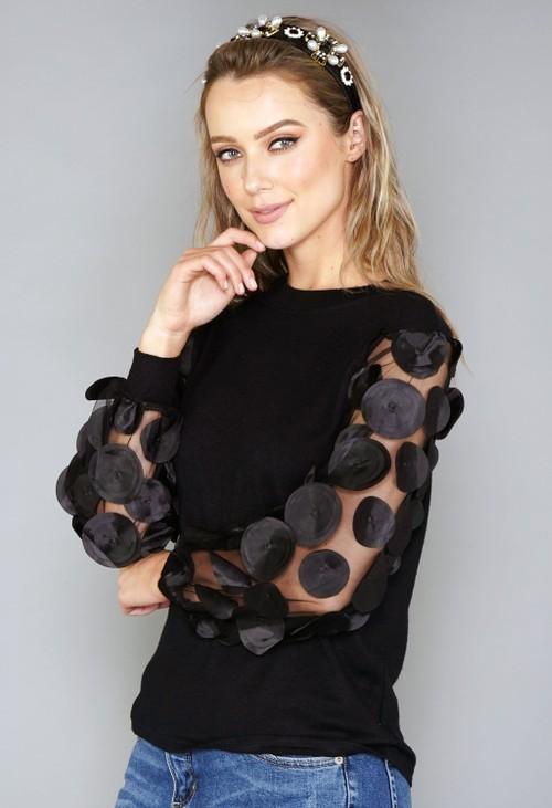 Pamela Scott Black Sleeve Detail Knit