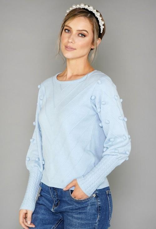 Pamela Scott Light Blue Bobble Jumper