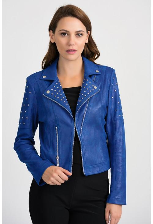 Joseph Ribkoff Blue Biker Jacket