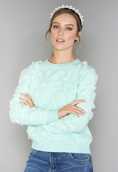 Pamela Scott Mint Green Lace Design Knit