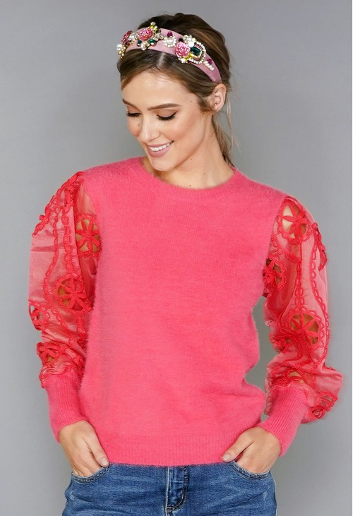 Pamela Scott Coral Sleeve Detail Top