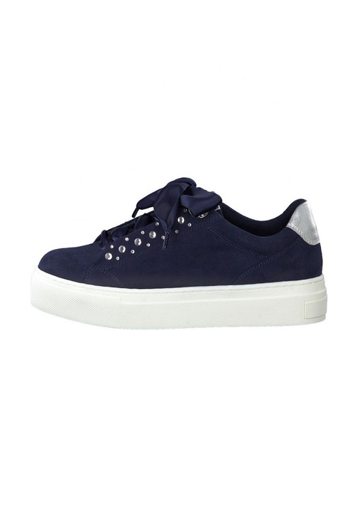 Marco Tozzi Navy Diamonte Detail Trainer