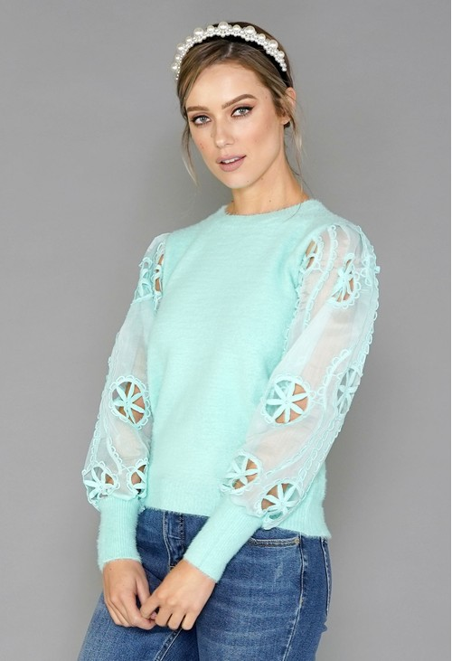 Pamela Scott Mint Green Sleeve Detail Top