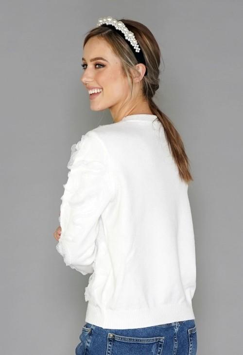 Pamela Scott Off White Lace Design Knit