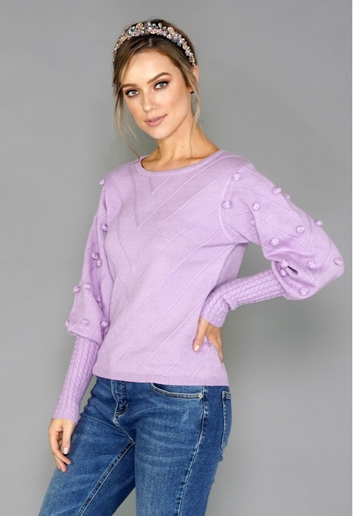 Pamela Scott Lilac Bobble Jumper