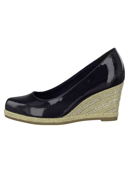 Marco Tozzi Navy Patent Espadrille Wedge