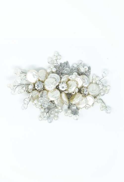 Pamela Scott Silver and Pearl Beaded Hair Clip