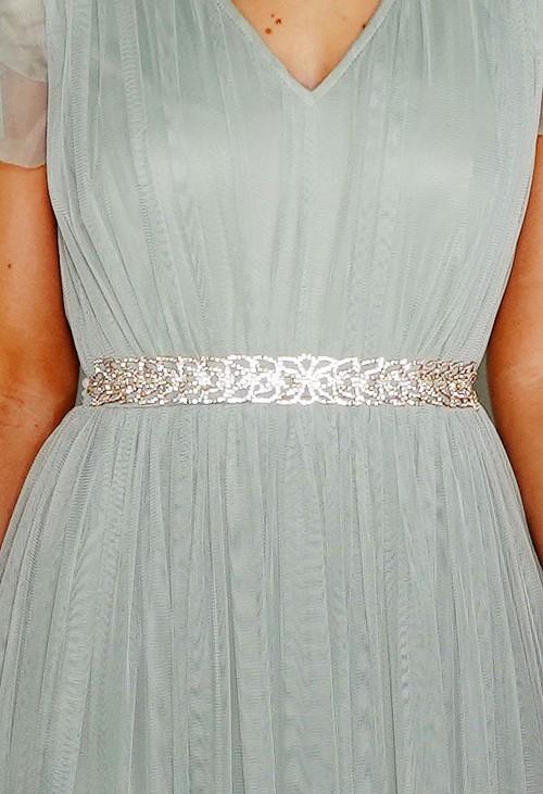 Pamela Scott Gold Diamonte Tie Belt