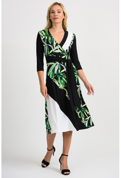 Joseph Ribkoff Leaf Pattern Dress