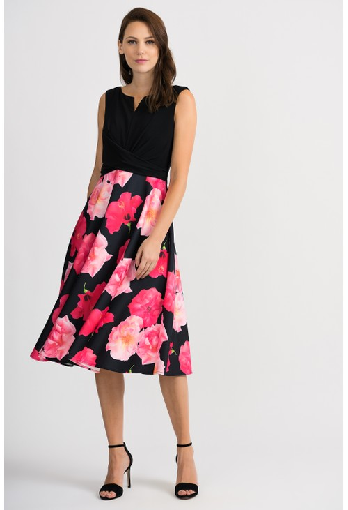 Joseph Ribkoff Black and Floral Print Dress