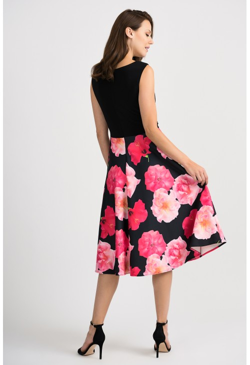 Joseph Ribkoff Black and Floral Print Dress