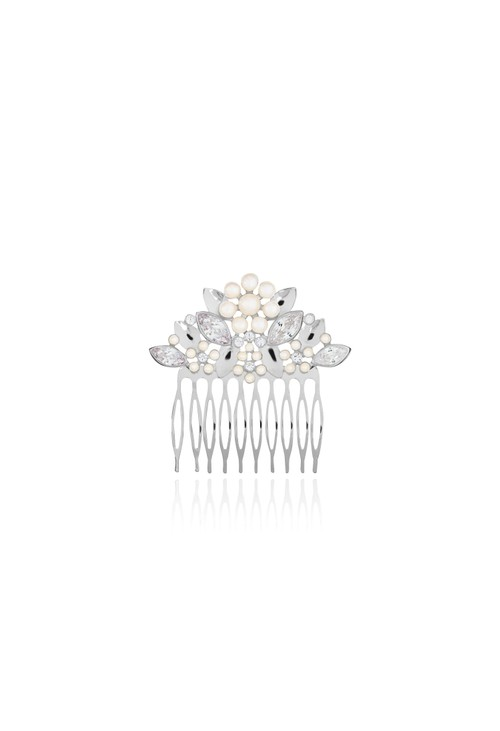 Joma HAPPY EVER AFTER HAIR ACCESSORIES | PEARL FLOWER AND CRYSTAL HAIR COMB