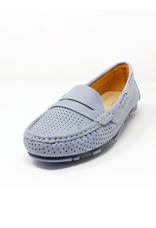 Pamela Scott Periwinkle Blue Cushioned Faux Suede Loafers