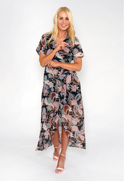 Pamela Scott Floral Frill Detail Dress