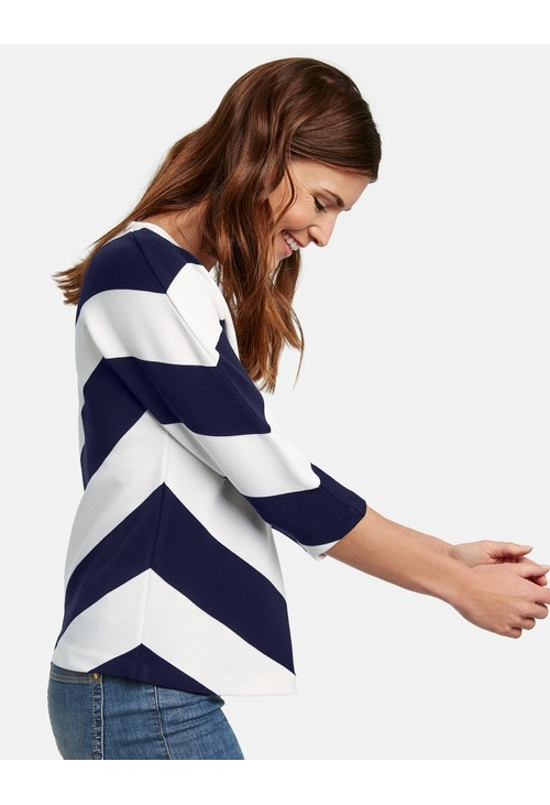 Gerry Weber 3/4-Sleeve Top with Chevron Stripes