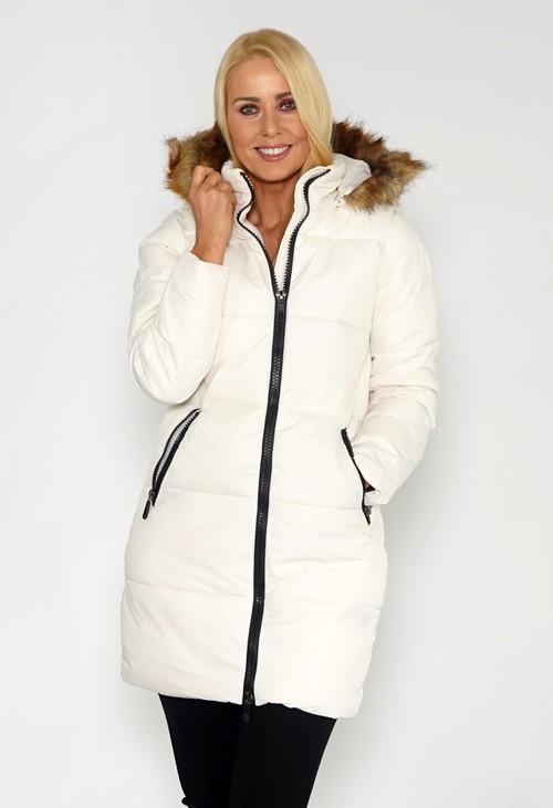 Pamela Scott Off White Faux Fur Collar Coat
