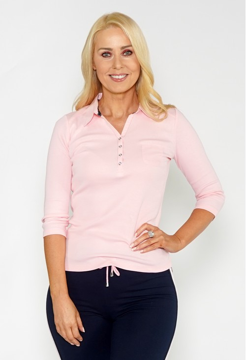 Pamela Scott Pink Button Detail Polo Top