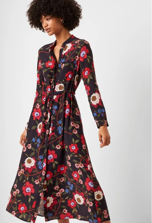 French Connection ELOISE DRAPE MIDI SHIRT DRESS