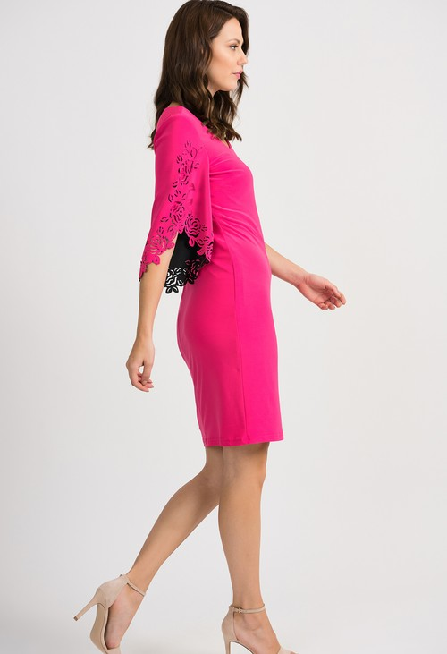 Joseph Ribkoff Cerise Floral Cut-Out Dress