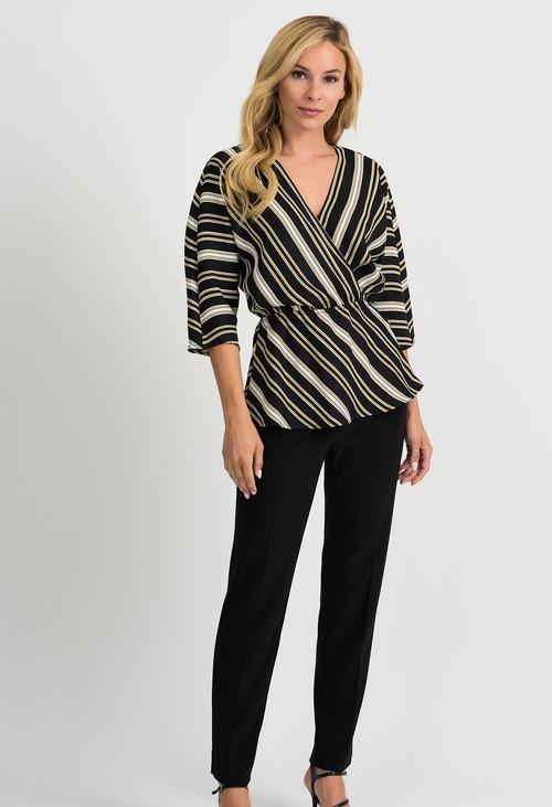 Joseph Ribkoff Black/White/Gold Stripe Top