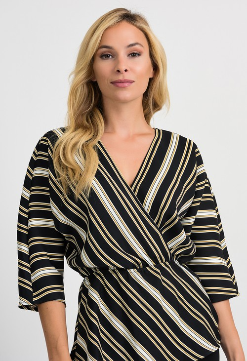 Joseph Ribkoff Black/White/Gold Stripe Top