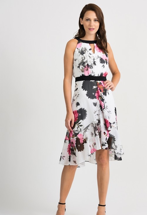 Joseph Ribkoff Clerical Neckline Floral Print Dress