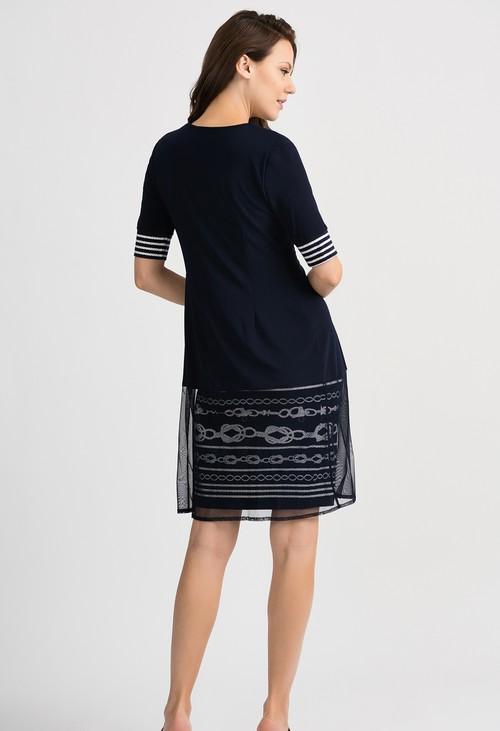 Joseph Ribkoff Overlay Roped Pattern Midnight Blue/Vanilla Dress