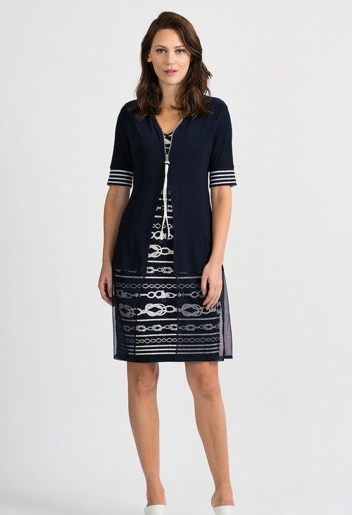 Joseph Ribkoff Overlay Roped Pattern Midnight Blue/Vanilla Dress