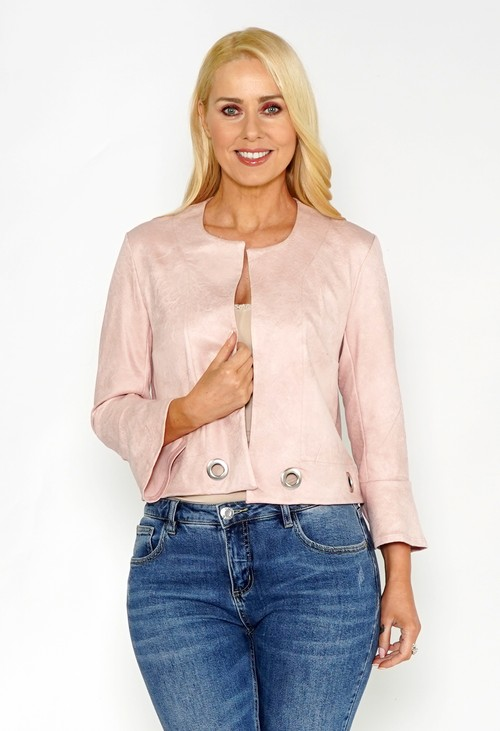 Sophie B Light Rose Faux Suede Jacket with Silver Detail