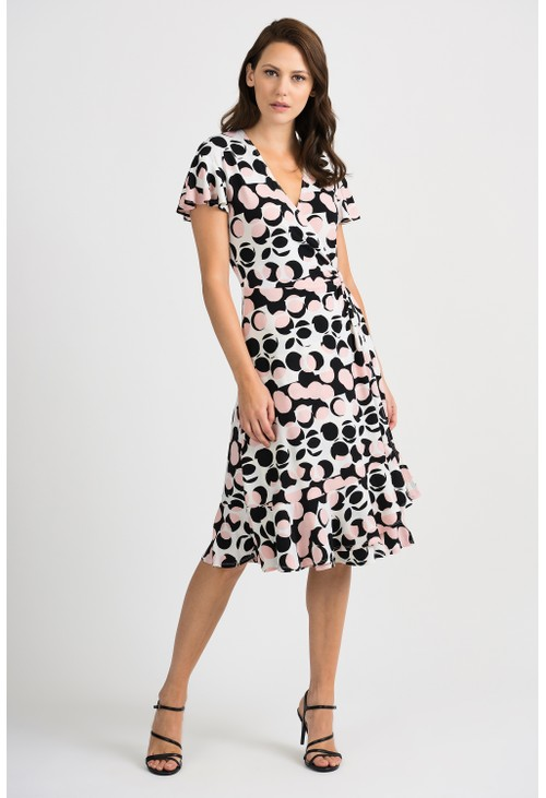Joseph Ribkoff Polka Dot Wrap Dress