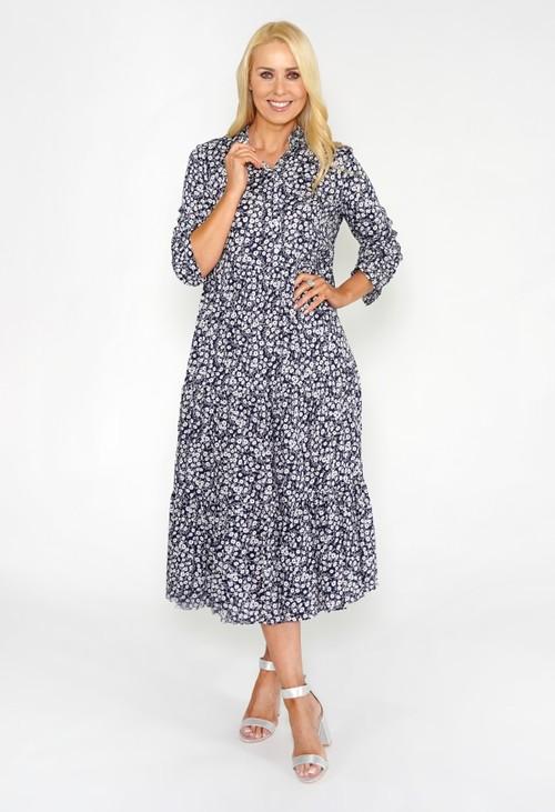 Pamela Scott Navy Floral Shirt Midi Dress