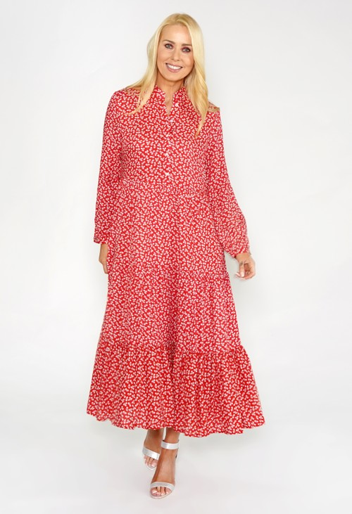 Pamela Scott RED FLORAL SHIRT MIDI DRESS