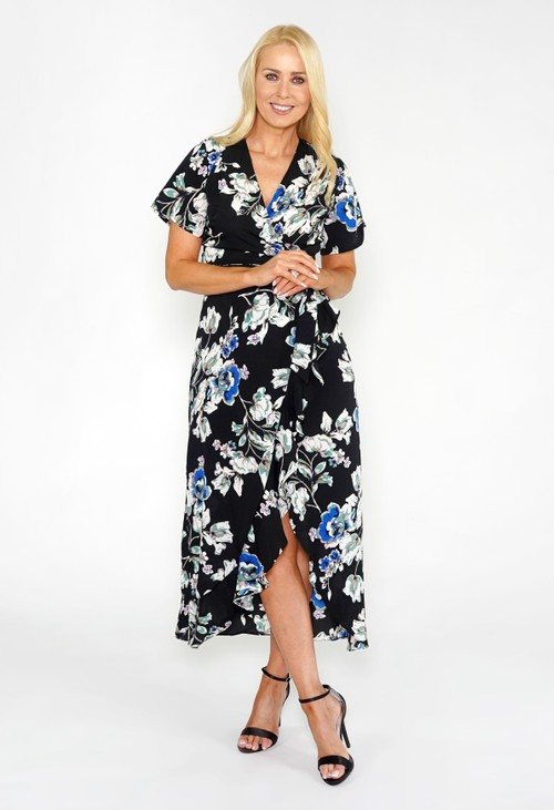 Pamela Scott FLORAL FRILL DETAIL DRESS