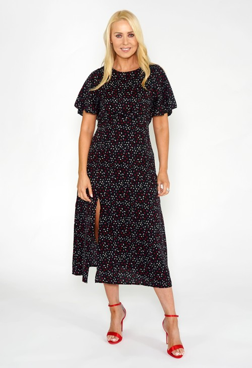 Pamela Scott Animal Spot Midi Dress