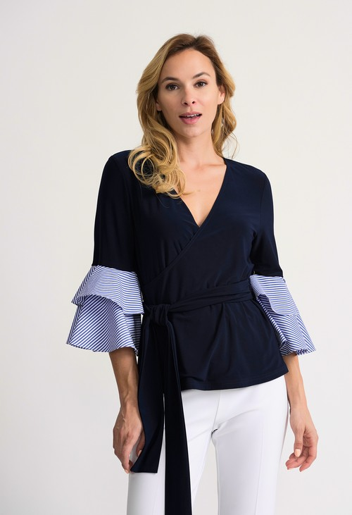 Joseph Ribkoff Wrap top with Sleeve Detail