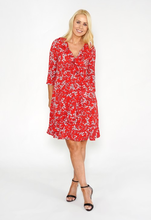 Pamela Scott Red Frill Detail Floral Dress
