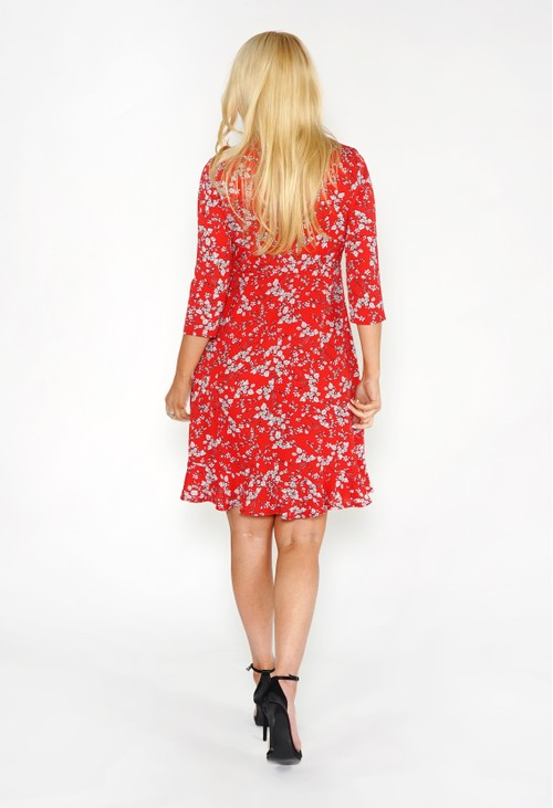 Pamela Scott Red Frill Detail Floral Dress