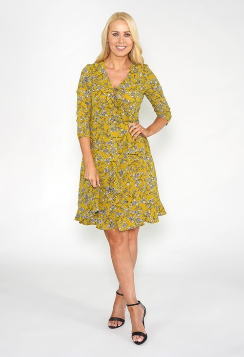 Pamela Scott Green Frill Detail Floral Dress