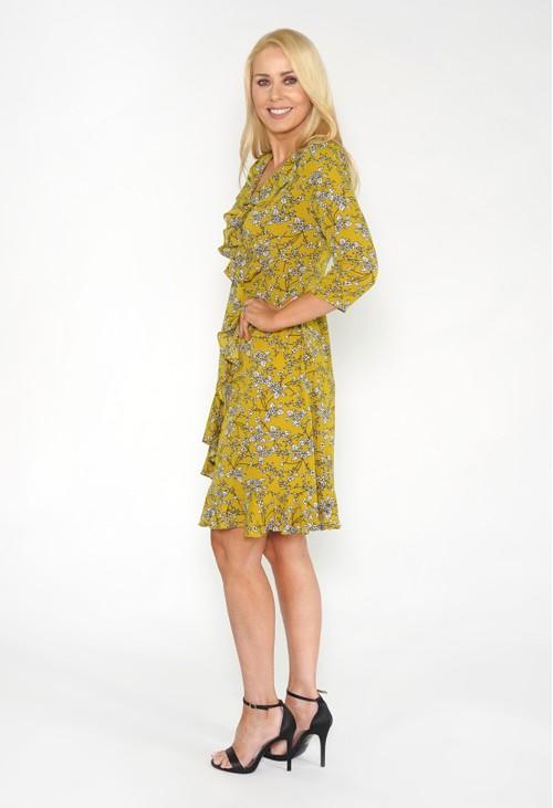 Pamela Scott Green Frill Detail Floral Dress