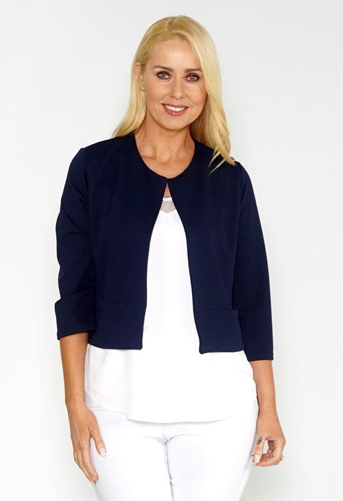 Zapara Navy TEXTURED CROPPED JACKET