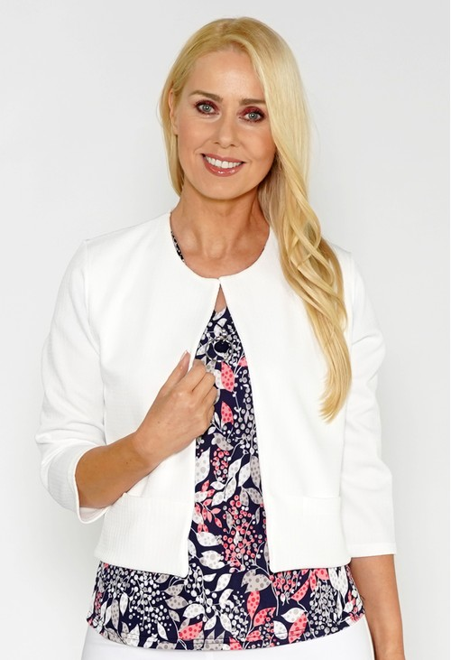 Zapara White Textured Cropped Jacket