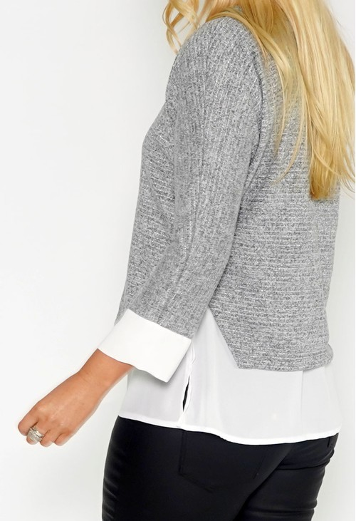Sophie B Grey 2 IN 1 TOP WITH NECKLACE DETAIL