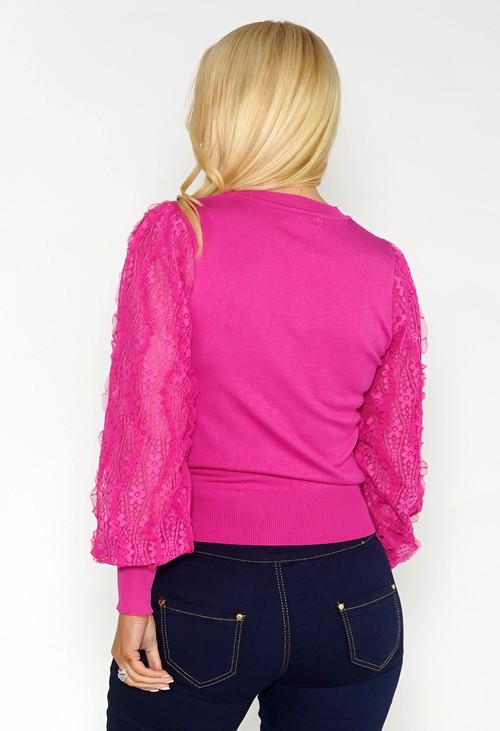 Pamela Scott Pink Jumper with Textured Lace Sleeve