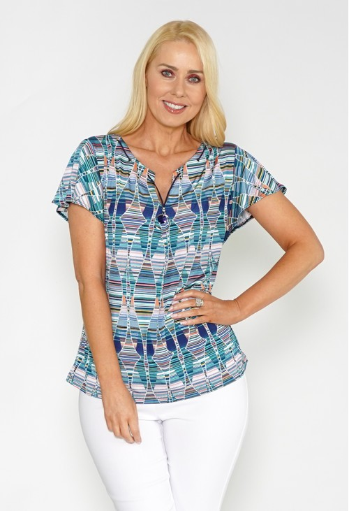 Twist Printed Top with Necklace Detail