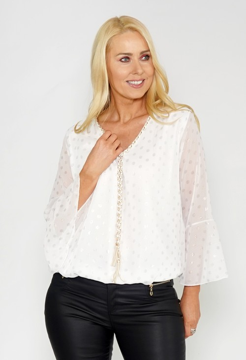 Pamela Scott Polka Dot Chiffon Top