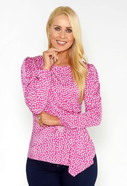 Zapara Pink Polka Dot Drape Top