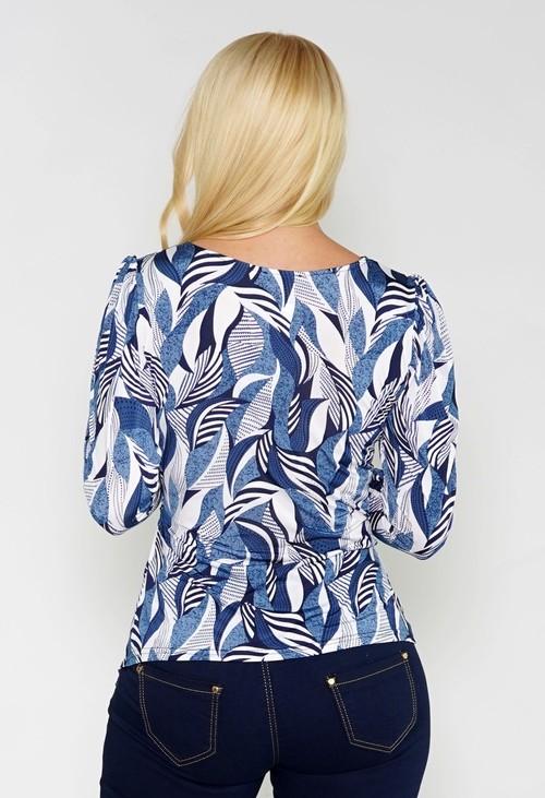 Zapara Blue Abstract Print Drape Top