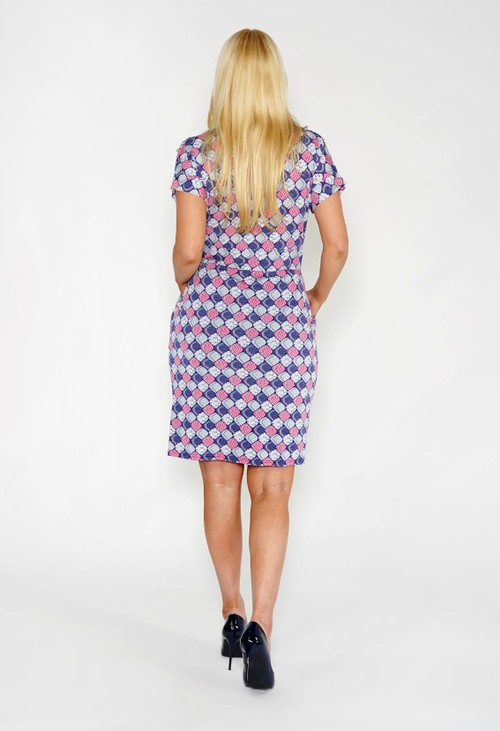 Sophie B Blue and Pink Printed Dress with Pockets