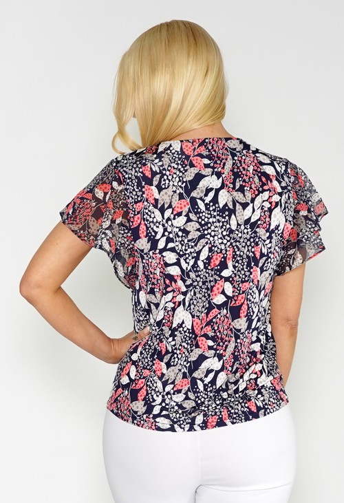 Sophie B Printed Top with Flutter Sleeves