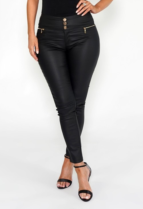 Pamela Scott Black High Waisted Coated Trousers